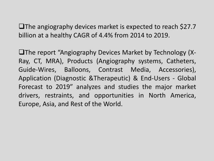 The angiography devices market is expected to reach $27.7 billion at a healthy CAGR of 4.4% from 2014 to 2019.