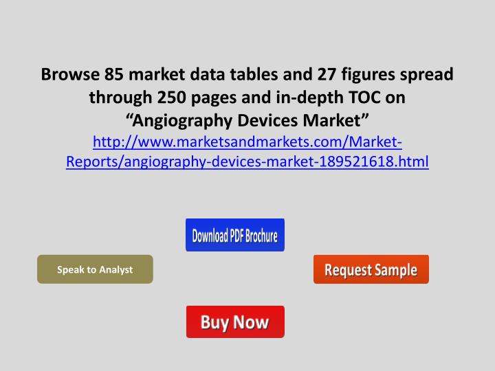 "Browse 85 market data tables and 27 figures spread through 250 pages and in-depth TOC on ""Angiography Devices Market"""
