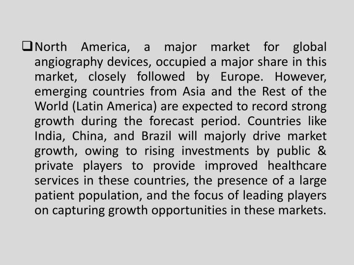North America, a major market for global angiography devices, occupied a major share in this market, closely followed by Europe. However, emerging countries from Asia and the Rest of the World (Latin America) are expected to record strong growth during the forecast period. Countries like India, China, and Brazil will majorly drive market growth, owing to rising investments by public & private players to provide improved healthcare services in these countries, the presence of a large patient population, and the focus of leading players on capturing growth opportunities in these markets.