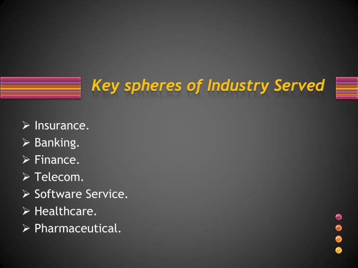 Key spheres of Industry