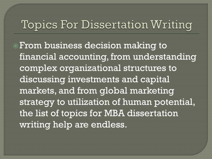 good topics for mba dissertation