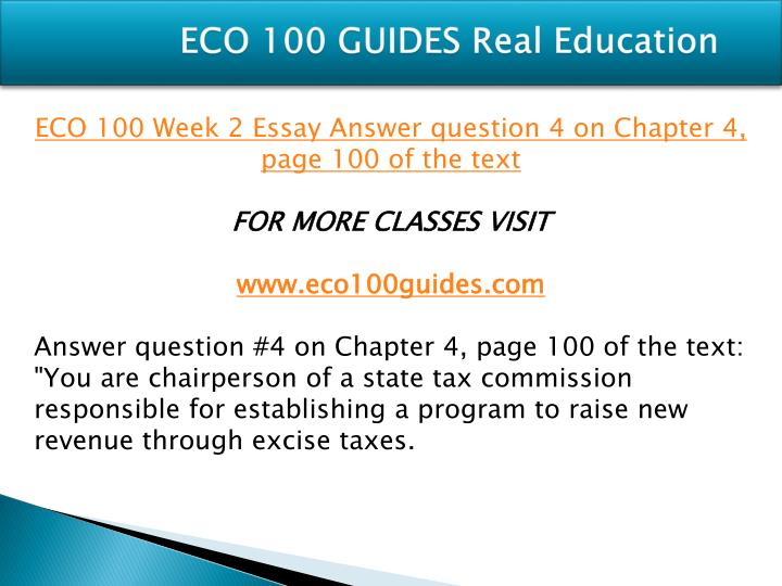 ECO 100 GUIDES Real Education
