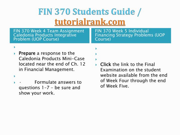 FIN 370 Students Guide /