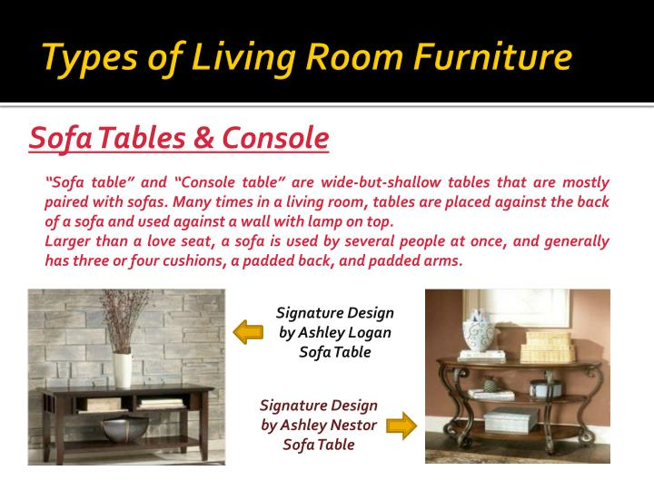 Ppt types of furniture for your living room powerpoint for Types of living room furniture