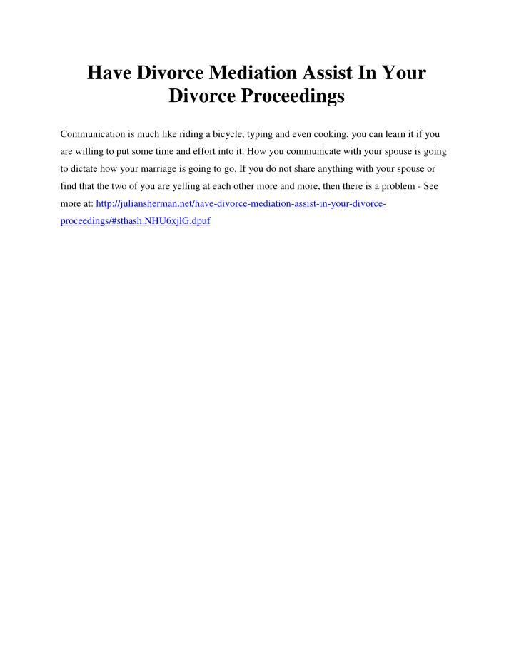 Have Divorce Mediation Assist In Your