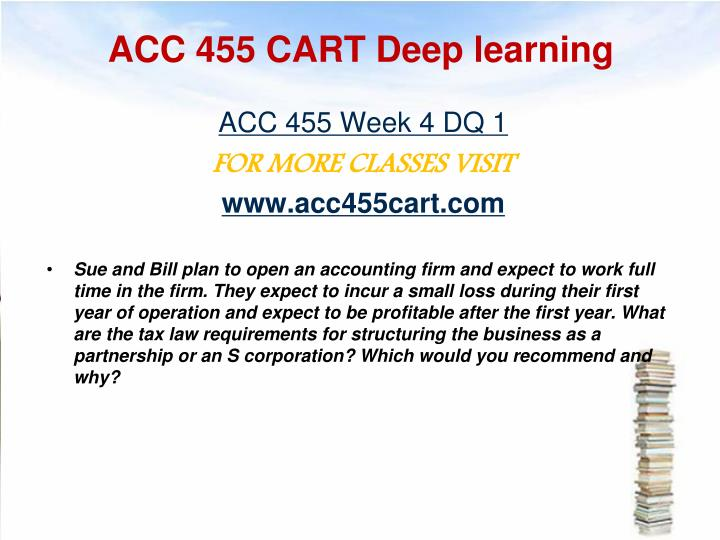 ACC 455 CART Deep learning