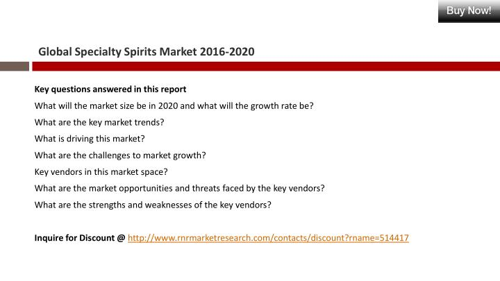 Global Specialty Spirits Market 2016-2020