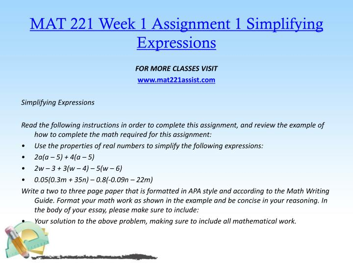 Mat 221 week 1 assignment 1 simplifying expressions
