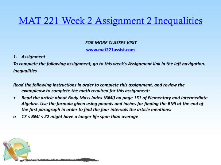 MAT 221 Week 2 Assignment 2 Inequalities