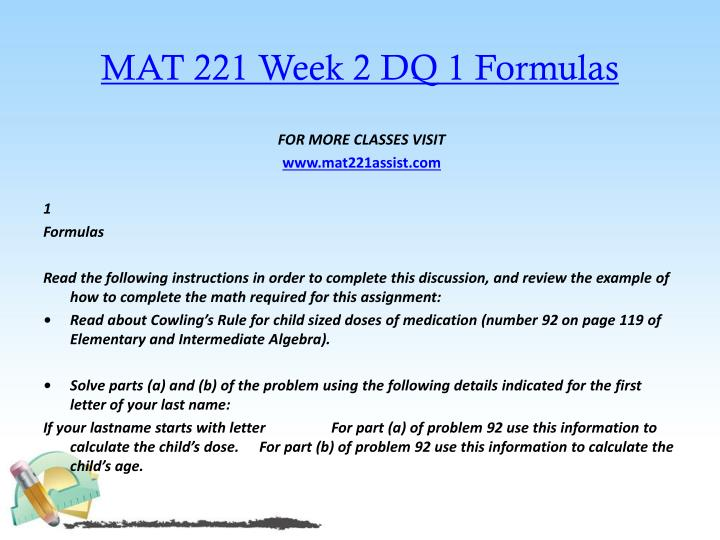 MAT 221 Week 2 DQ 1 Formulas