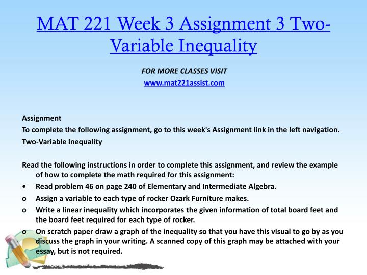 MAT 221 Week 3 Assignment 3 Two-Variable Inequality