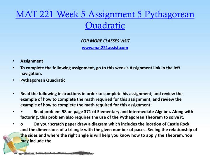 MAT 221 Week 5 Assignment 5 Pythagorean Quadratic