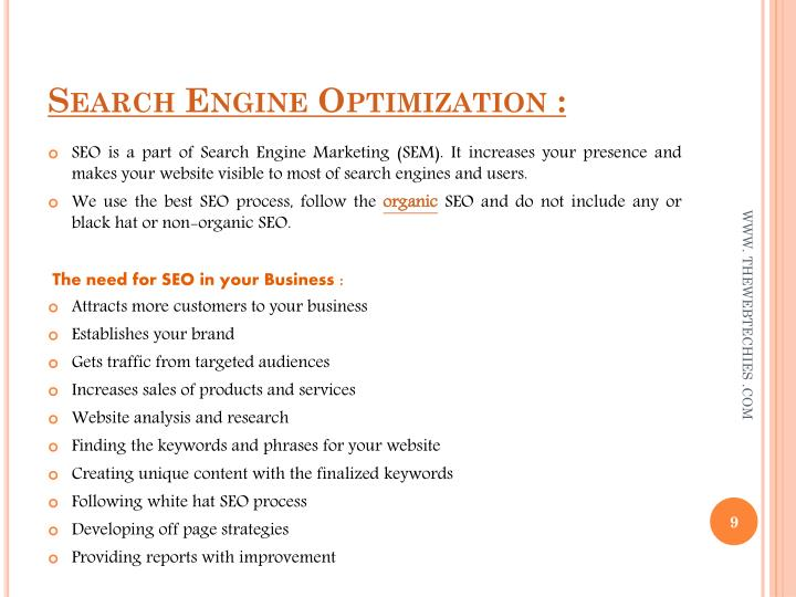 Search Engine Optimization :