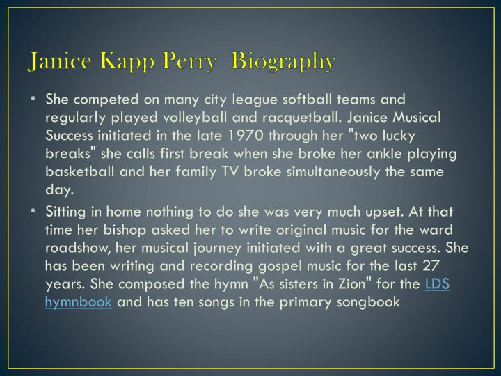 Janice kapp perry biography1