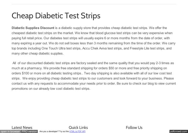 Cheap Diabetic Test Strips
