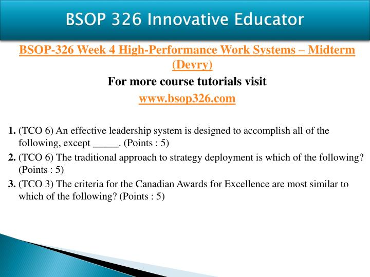 BSOP 326 Innovative Educator