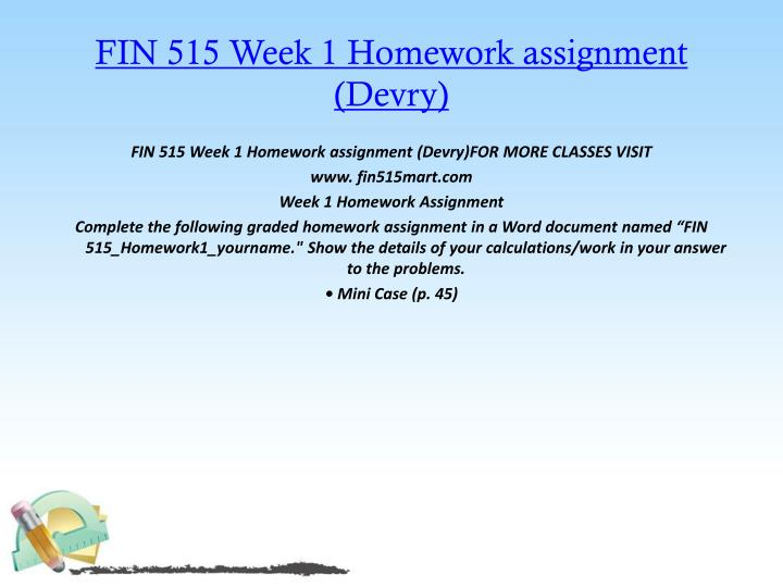 FIN 515 Week 1 Homework assignment (