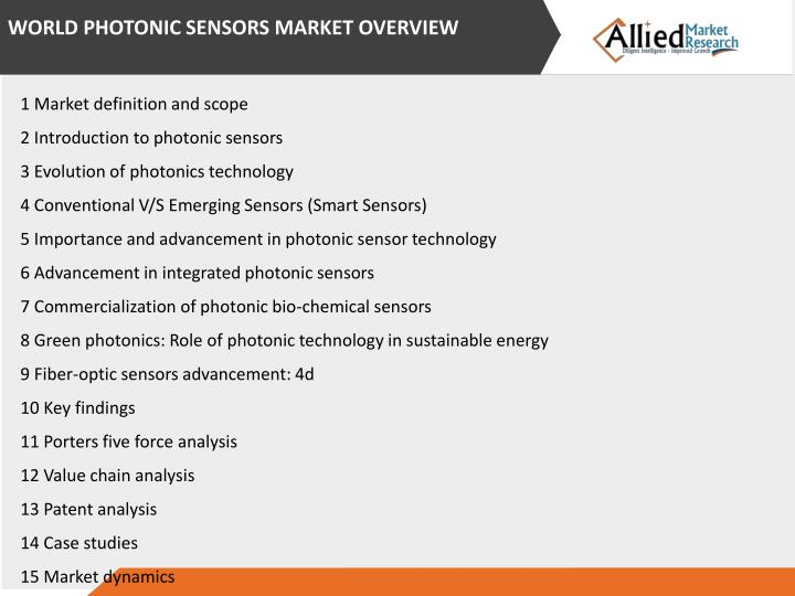 WORLD PHOTONIC SENSORS MARKET OVERVIEW