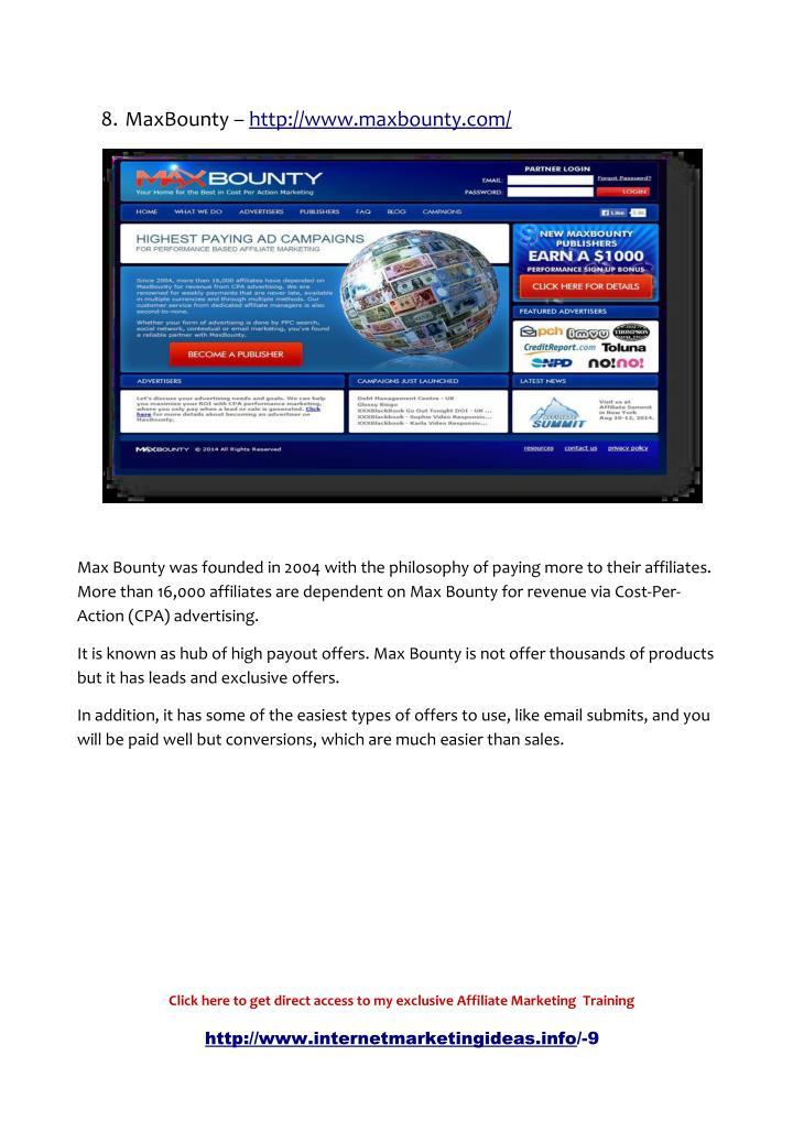 8. MaxBounty – http://www.maxbounty.com/