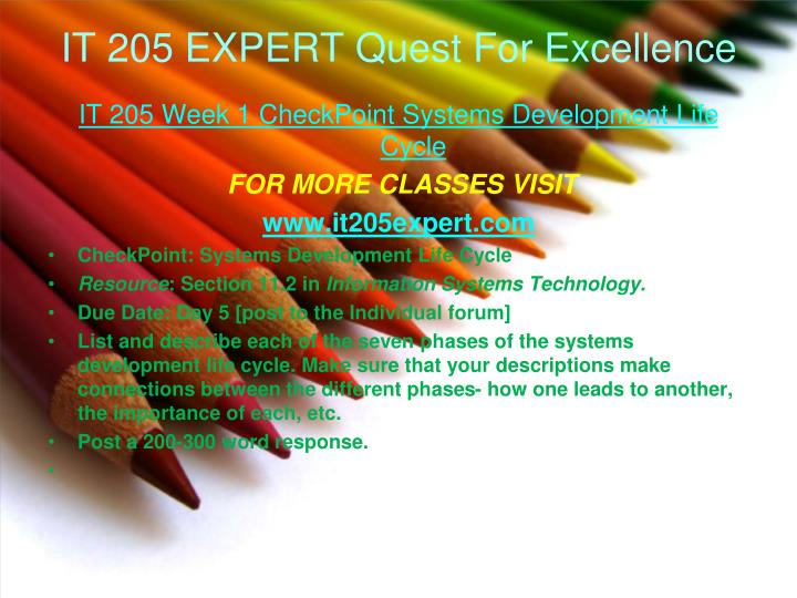 It 205 expert quest for excellence1