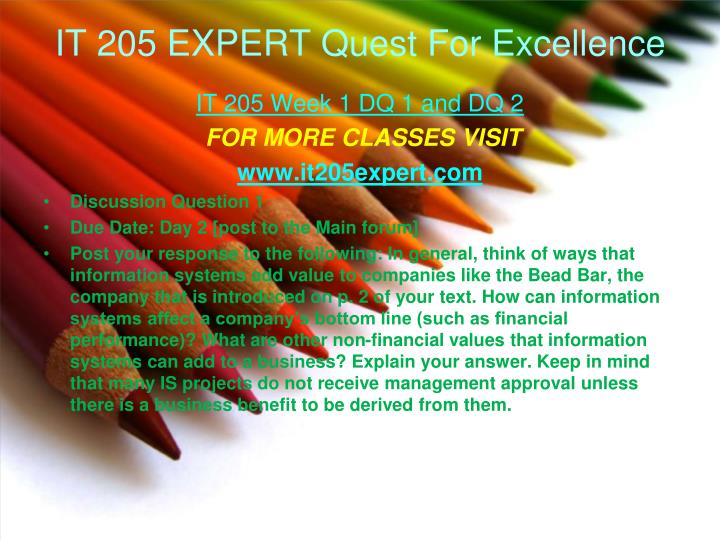IT 205 EXPERT Quest For Excellence