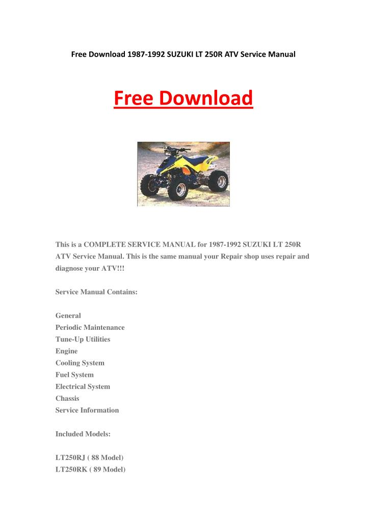 Free Download 1987-1992 SUZUKI LT 250R ATV Service Manual