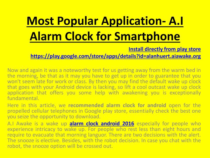 Most Popular Application- A.I Alarm Clock for Smartphone