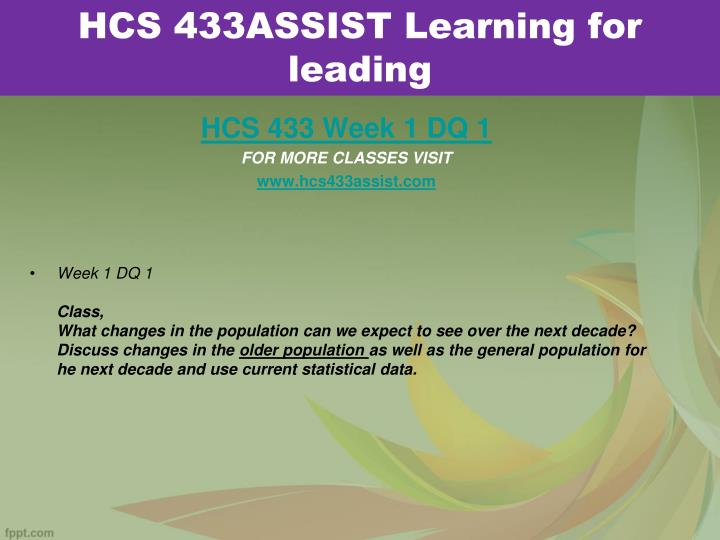 Hcs 433assist learning for leading1