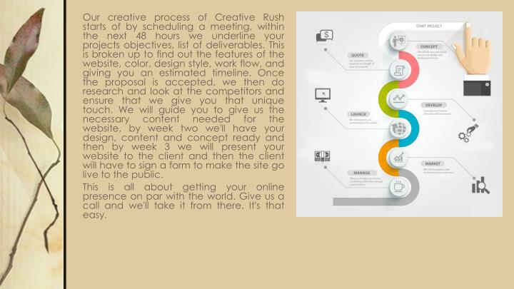 Our creative process of Creative Rush starts of by scheduling a meeting, within the next 48 hours we underline your projects objectives, list of deliverables. This is broken up to find out the features of the website, color, design style, work flow, and giving you an estimated timeline. Once the proposal is accepted, we then do research and look at the competitors and ensure that we give you that unique touch. We will guide you to give us the necessary content needed for the website, by week two we'll have your design, content and concept ready and then by week 3 we will present your website to the client and then the client will have to sign a form to make the site go live to the public.