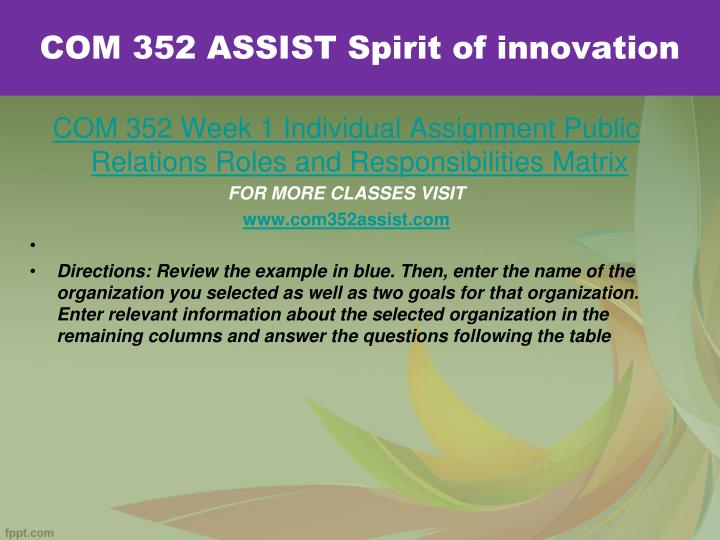 Com 352 assist spirit of innovation1