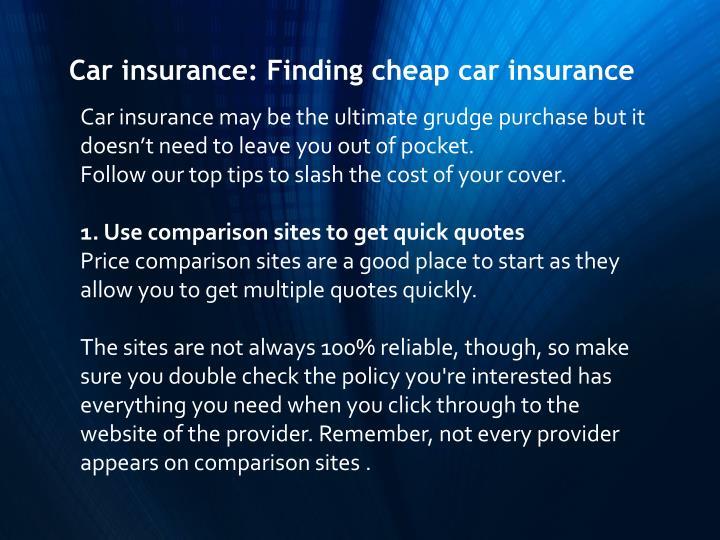 Car insurance: Finding cheap car insurance