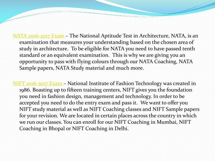 NATA 2016-2017 Exam