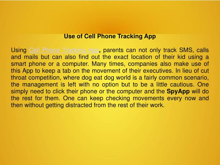 Use of Cell Phone Tracking App
