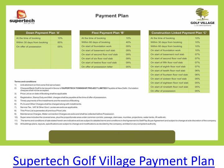 Supertech Golf Village Payment Plan