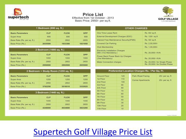 Supertech Golf Village Price List