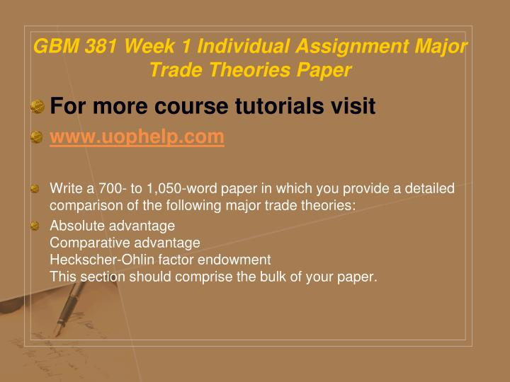 GBM 381 Week 1 Individual Assignment Major Trade Theories Paper