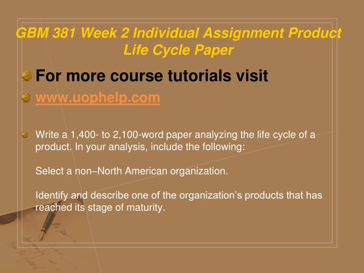 GBM 381 Week 2 Individual Assignment Product Life Cycle Paper