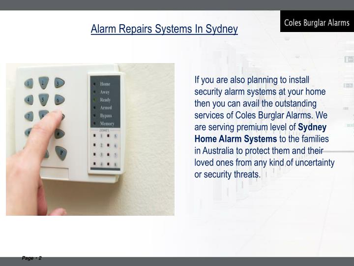 Alarm repairs systems in sydney