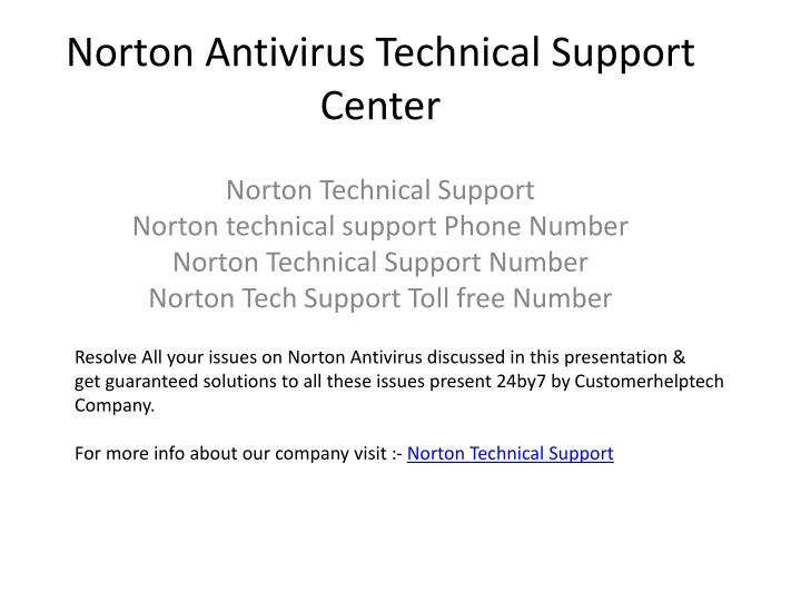 Norton antivirus technical support center