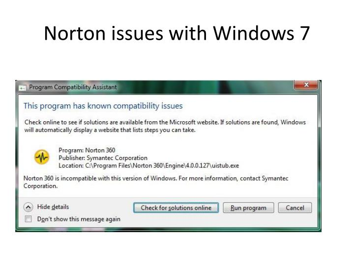 Norton issues with Windows 7