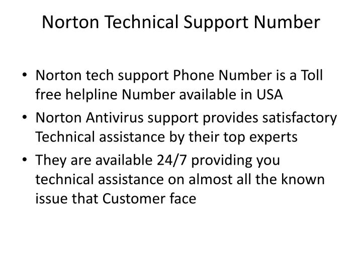Norton technical support number