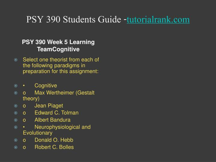 PSY 390 Students Guide -