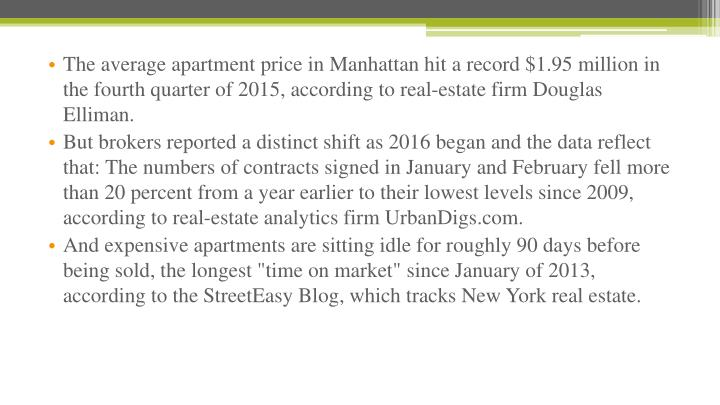 The average apartment price in Manhattan hit a record $1.95 million in the fourth quarter of 2015, according to real-estate firm Douglas