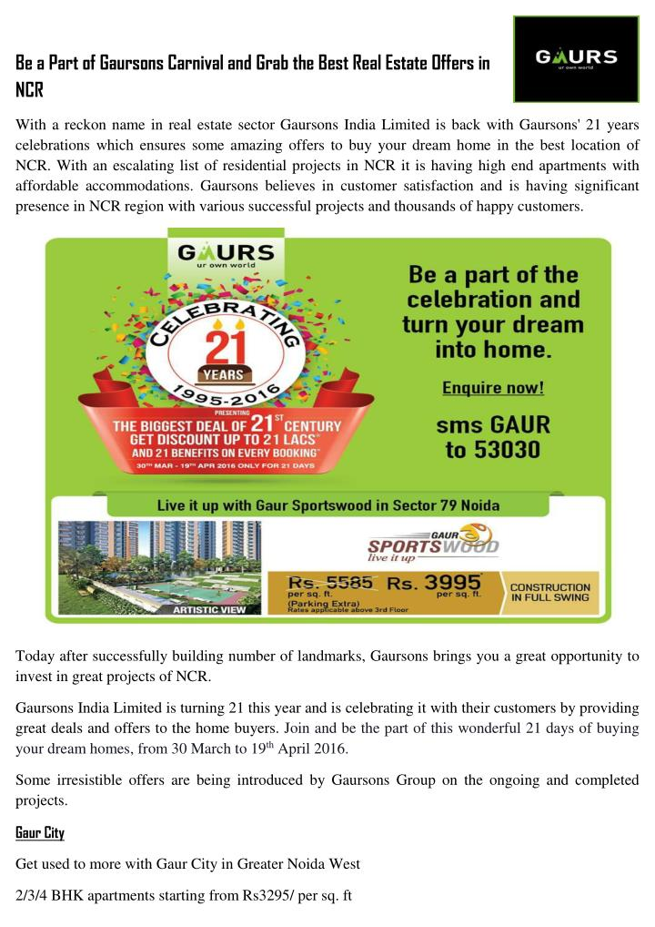 Be a Part of Gaursons Carnival and Grab the Best Real Estate Offers in