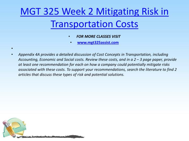 MGT 325 Week 2 Mitigating Risk in Transportation Costs