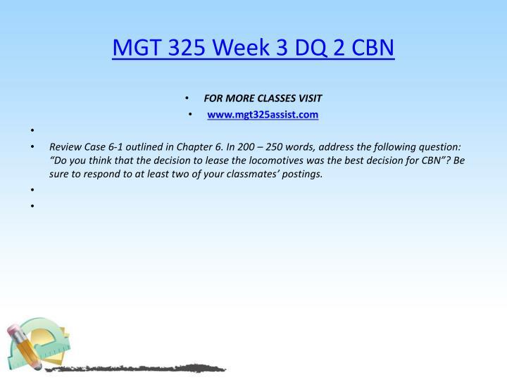 MGT 325 Week 3 DQ 2 CBN