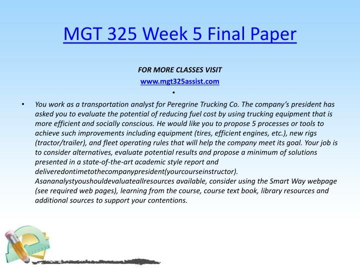 MGT 325 Week 5 Final Paper