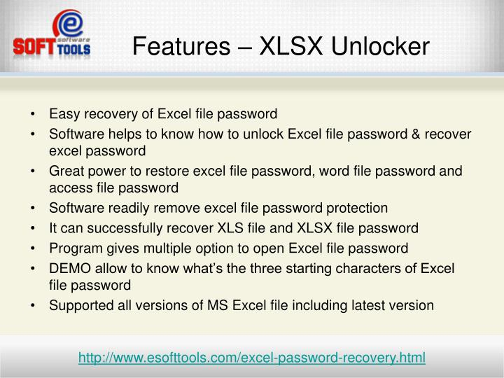 Features xlsx unlocker