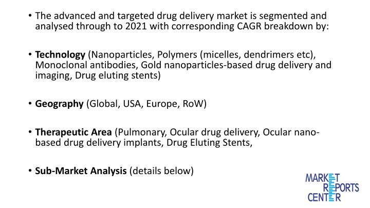 The advanced and targeted drug delivery market is segmented and analysed through to 2021 with corresponding CAGR breakdown by