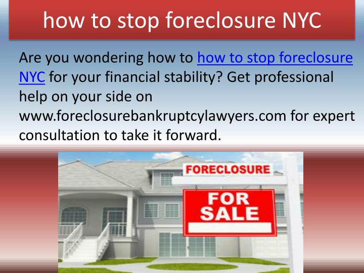 how to stop foreclosure NYC